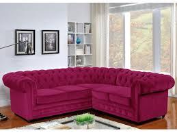 Canapé D Angle En Cuir Pleine Fleur Chesterfield Canapé D Angle En Velours Chesterfield Fuchsia Living Room