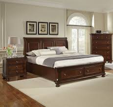 Bedroom Sets Norfolk Va Reflections Queen Storage Sleigh Bed In Dark Cherry By Virginia