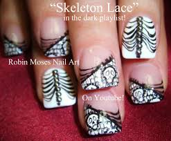 nail art halloween nails black and white skeleton lace nail