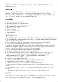 Resume Of Manager Project Manager by Professional Telecommunication Project Manager Templates To
