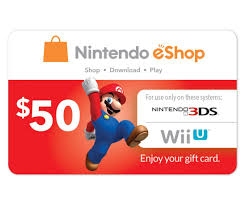 nintendo gift card nintendo eshop prepaid card 50 for 3ds or wii u by