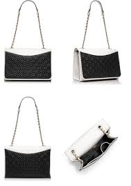 tory burch fleming double pocket bag in black ivory colorblock i