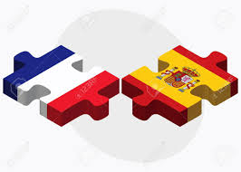 Spain Flags France And Spain Flags In Puzzle Isolated On White Background