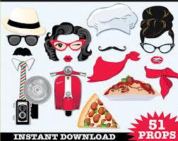 italian photo booth props pizza party spaghetti dinner chef