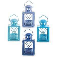 frinton u0027 set of four coastal blue miners lantern tealight holders