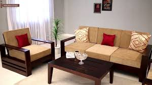 Solid Teak Wood Furniture Online India Wooden Sofa Set Buy Winster 3 1 1 Seater Sofa Set Online