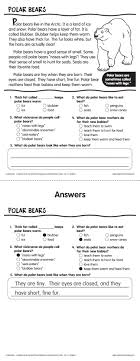 reading comprehension test for grade 4 polar bears reading comprehension passage from lakeshore learning