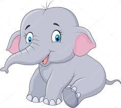 cartoon baby elephant sitting isolated on white background u2014 stock