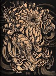 hidden beauty by clark north snake dragon and mums tattoo art