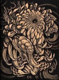 hidden beauty by clark north snake dragon and mums tattoo art