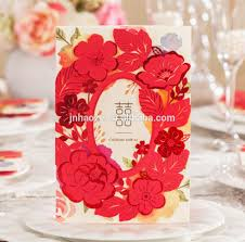 Blank Invitation Cards And Envelopes 2017 New Style Chinese Red Flower Circle Wedding Invitation Cards