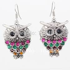 owl earrings colorful rhinestone owl earrings vintage bohemian fashion jewelry