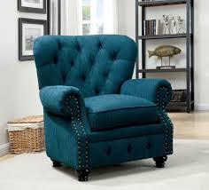stanford classic design rolled arms dark teal fabric arm chair