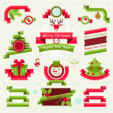 merry christmas banners ribbons badges u2014 stock vector