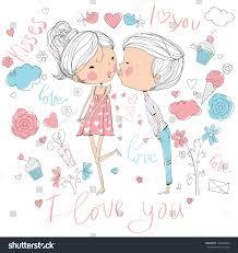 romantic concept loving boy kissing stock vector 144486835
