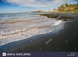 black beach punalu u black sand beach big island pacific ocean
