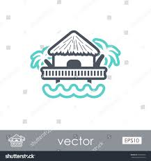bungalow palm trees outline vector icon stock vector 635866526