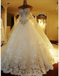 custom wedding dress a line princess sweetheart cathedral lace tulle custom