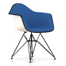 eames upholstered molded fiberglass armchair with wire base by