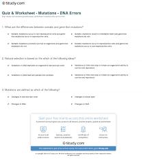 quiz u0026 worksheet mutations dna errors study com
