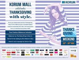 thanksgiving weekend offers from more than 40 brands at korum mall