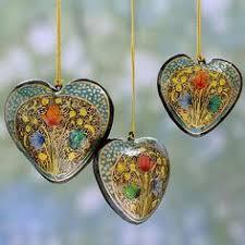 set of 4 handmade kali wood floral pine ornaments india