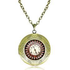 antique necklace pendant images Vintage clock locket necklace glass dome pendant old clock jpg