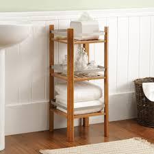 short wooden free standing shower shelves aside charcoal wicker