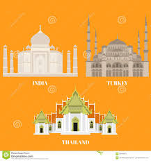 thailand turkey and india travel icons country sightseeing