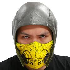 Scorpion Helmet Mortal Kombat X Cosplay Deluxe Pvc Full Head Dark