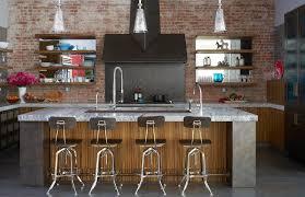 Industrial Kitchen Cabinets Kitchen Cabinets With Brick Backsplash Transitional Kitchen