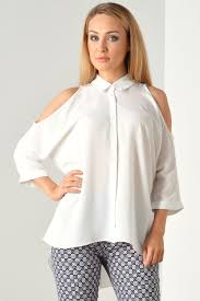 cold shoulder tops cold shoulder shirt in white iclothing