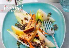 cuisiner tofu fumé salade de lentilles poires endives au tofu fumé la recette de