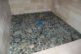 pebble tile shower floor for effect