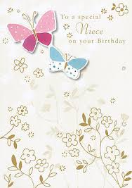 niece birthday card hand finished butterfly design size 6 75 x