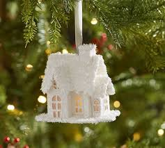 lit glitter house ornament white pottery barn