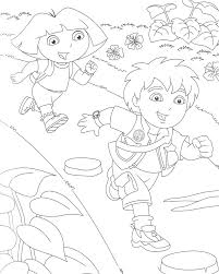 dora and diego coloring pages for kids cartoon coloring pages of