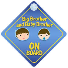 amazon com big brother and baby brother on board car sign new