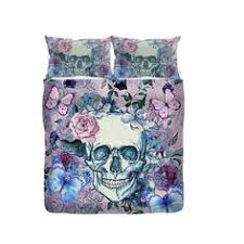 featherweight skull bedding roses and sugar skulls printed on