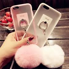 acrylic rabbit ring holder images Fashion rabbit fur fuzzy ball cell phone case silicone polished jpg
