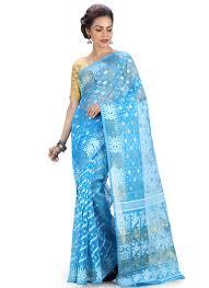 jamdani sharee buy blue jamdani saree jamdani sari online shopping sakrkb2661