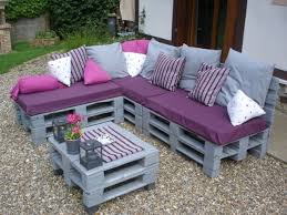 Purple Table L Creative Idea Backyard Design With L Shaped Grey Pallet Wood