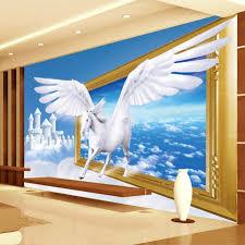 online get cheap horse wall murals aliexpress com alibaba group beibehang custom photo wallpaper 3d creative art blue sky white clouds white horse wall mural wallpaper