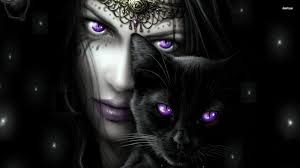 black cat wallpapers wallpapers blue eyed fantasy woman purple with her black cat hd