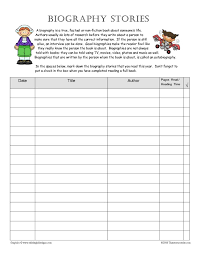 biography stories reading log page with genre explanation that