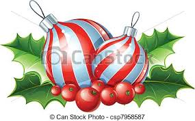 vectors illustration of christmas decoration of ball and holly