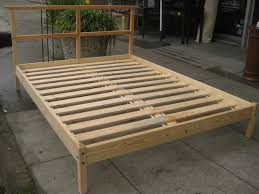 wanted queen platform wood bedframe with slats and center support
