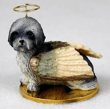 lhasa apso figurine ornament statue painted gray