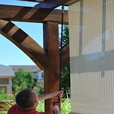 keystone fabrics valanced and pole operated outdoor sun shade