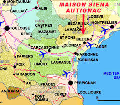 map of perpignan region beziers map and beziers satellite image